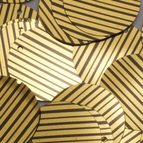 DISCONTINUED  25mm Flat Round Metallic Sequins. Gold/Black striped x 75. BUY 1 GET 1 FREE